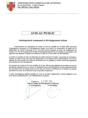 2020-04-15 Avis au public Modification partie écrite PAG