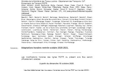 Adaptations Horaires Bus 011-Rentrée scolaire 2020-2021