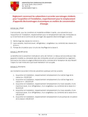 Règlement  - Subventions appareils électroménagers