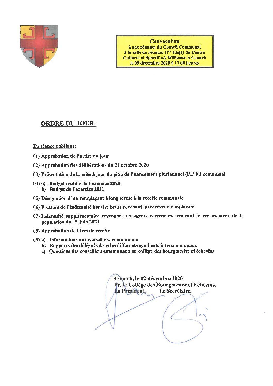 Ordre du jour 09.12.2020