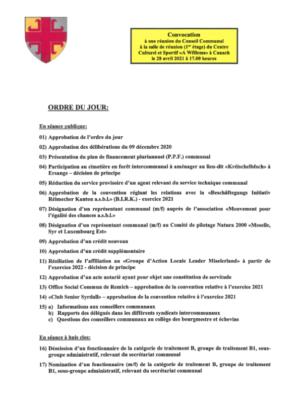 Conseil communal du 28/04/2021 - ordre du jour