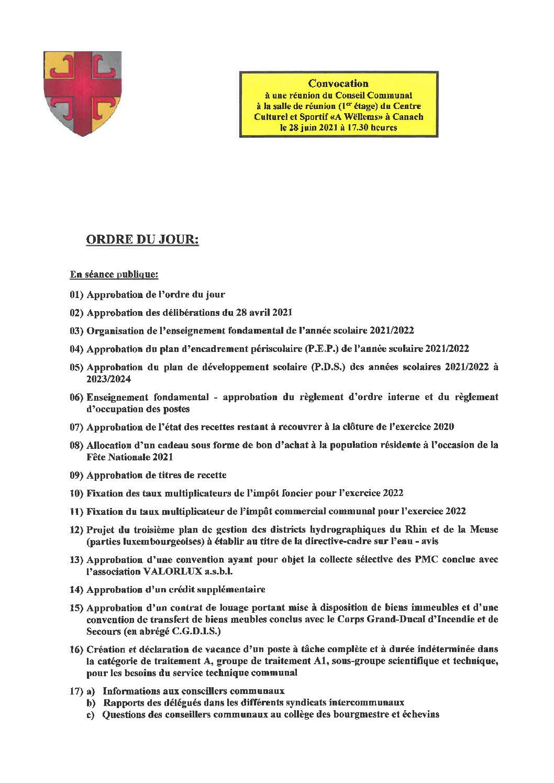 Séance du conseil communal (28/06/2021) – ordre du jour