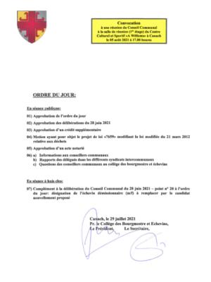 Séance du conseil communal (05/08/2021) – ordre du jour