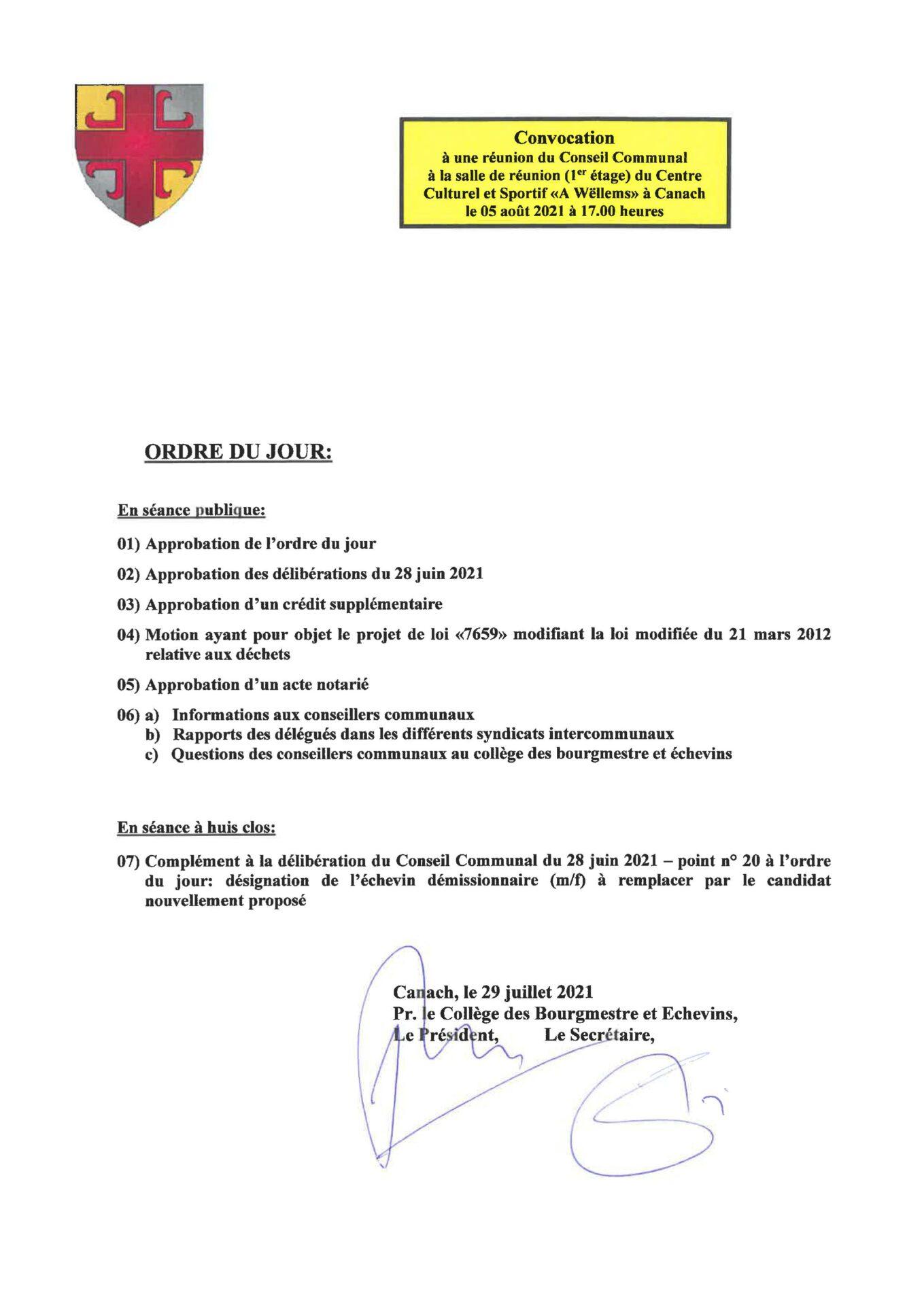 Conseil communal 05-08-2021