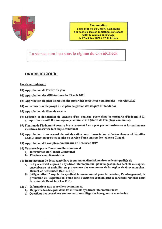 Séance du conseil communal (27/10/2021) – ordre du jour